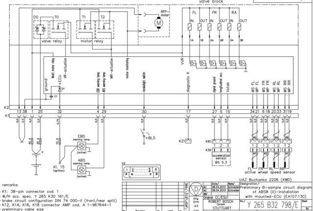 Электросхема блока ABS/ESP УАЗ Патриот выпуска с 2012 года